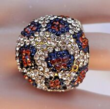 """NOS Kirks Folly """"Wild Thing"""" Crystal Leopard Print Stretch Dome Ring - Gold Tone"""