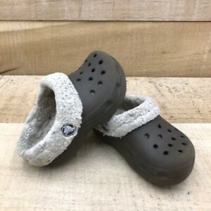 Crocs Boys Clogs Mules Shoes Brown Gray Rubber Slip-On Perforated Lined Casual 7