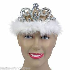 Silver Diamante Tiara White With Marabou Feather Trim Queen Princess Fancy Dress