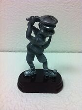 "PEWTER GOLFER 6"" FIGURINE ON A STONE BASE TEEING OFF ON THE TIP OF HIS SHOE NEW"