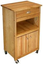 Microwave Kitchen Cart Open Storage Space Wood Cabinet Shelf Drawer Doors Wheels