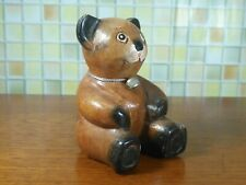 "4"" Wooden Teddy Bear Hand Carved Figurine Sculpture Home Decor Gift Collectible"