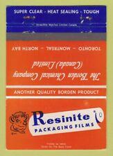 Matchbook Cover - Resinite Packaging Film Borden Chemical Canada WEAR 40 Strike