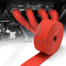 """Red Exhaust Pipe Header Insulation Thermal Heat Wrap 2""""x50' Motorcycle Car"""