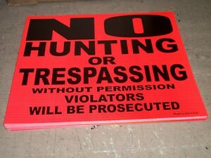 50 No Trespassing No Hunting Violators Will Be Prosecuted Neon Orange Signs USA