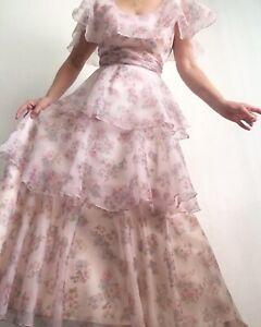 vintage lace and chiffon party dress peach bohemian gown vintage NOS 1970s maxi dress