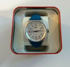Fossil BQ1622 Stainless Womens 38mm Day/Date Watch ~ Blue Leather Strap