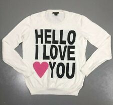 Forever 21 Womens Small Hello I Love You White Lightweight Sweater