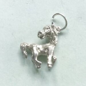 Prancing HORSE pony - traditional solid 925 sterling silver charm pendant