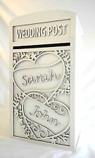 Large White Wedding Card Post Box (Personalised) - 'Two Hearts' Design