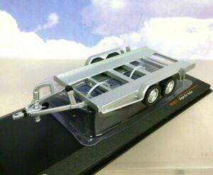 SUPERB IXO 1/43 DIECAST TWIN 2 AXLE AUTOTRAILER/RALLY CAR TRAILER SILVER TRL004S