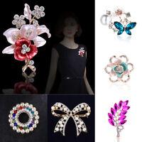 Elegant Bridal Pearl Flower Crystal Rhinestone Brooch Pin Women Party Jewelry