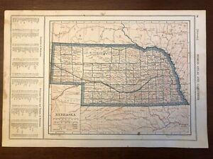 1917 Nebraska Map, Encyclopedic Atlas and Gazetteer