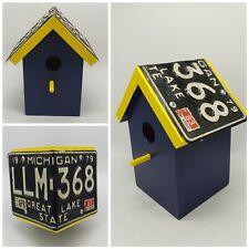 License Plate Roof Birdhouse MICHIGAN 1979 Handmade Rustic Folk Art