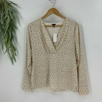 Ann Taylor Womens Pullover Printed Blouse Size Small Beige V-Neck Shirt Top NWT