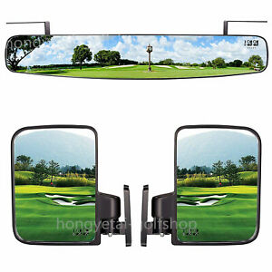 """16.5"""" Extra Wide Panoramic Rear View Mirror & Side Mirrors for Yamaha EZGO Cart"""