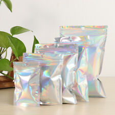 20PCS Iridescent Zip lock Bags Pouches Cosmetic Hologram Holographic Clear Bags