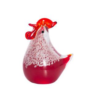 Hand Blown Chicken Sculpture Art Glass Rooster Animal Figurine Decor Ornament