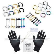 42pc 16G Body Piercing Kit Needle UV Nipple Lip Ring Barbell Clamps PRO Tool Set