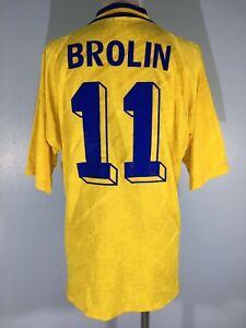 ADIDAS SWEDEN 1994 WORLD CUP BROLIN VINTAGE FOOTBALL SHIRT SOCCER TEE JERSEY L