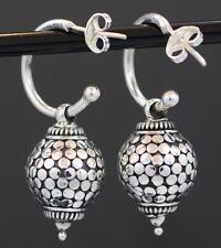 Handmade Sterling Silver .925 Hoop Push-Pin Earrings w Bali Sliding Dot Ball.