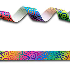 5 Yards Rainbow Gradient Foil Swirl Single Sided Grosgrain Ribbon 25mm Pride