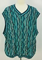 VTG 90s COOGI Australia Teal Blue Cotton Funky Knit Sweater Vest Mens Sz 4XL