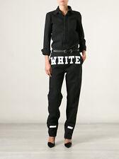 OFF WHITE C/O VIRGIL ABLOH black denim logo print jumpsuit mechanic overalls 26