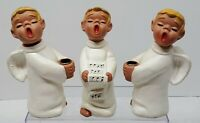 3 Vintage Mid Century Candle Holders Figurines Christmas Choir Boys Angels Japan