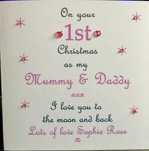 Personalised 1st first Christmas Card As My Mummy Daddy Nanny Grandad Auntie ❤️