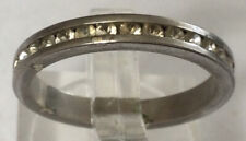 Cz Eternity Band Sz 7.75 Bu47 Stunning Exquisite Rare Estate Sterling Silver 925