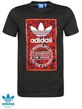 Adidas Originales Para hombres Camiseta de etiqueta de la lengua L Grande 42/44 Negra Roja BNWT
