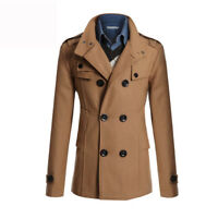 Mens Winter Wool Blend Parka Trench Coats Reefer Jackets Double Breasted Peacoat