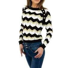 Damen Pullover von Voyelles Gr. One Size  Schwarz Weiß Beige Gold Glitzer