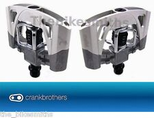 Crank Brothers Mallet 2 Raw / Silver Clipless Bike DH Pedals & Cleats Bros