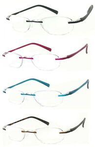 Women Rimless Small Oval Full Magnified Lens Reading Glasses Lightweight