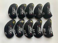 10PCS Golf Iron Covers for Cobra King SZ Club Headcovers Caps 4-LW Black&Black