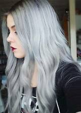 "human hair wig, blonde, silver, grey, lace front, real hair, 30"" long"