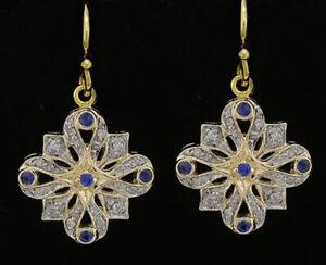 EP057 Genuine 9ct Gold NATURAL Diamond & Sapphire Art-Deco style Drop Earrings