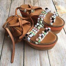 Rrp £230 MIISTA ASOS Straw Sandals Wedges Platforms Leather size UK 6 EU 39