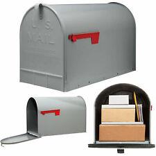 Post Mount Mailbox Extra Large Postal Storage Box Gray Galvanized Steel Heavy