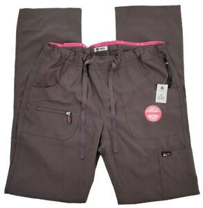 Koi Lite Peace Womens Small Tall Steel Grey Scrub Pants Slim Fit #721-T, NWT