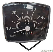 VESPA SPEEDOMETER SQUARE SMALL FRAME V50 SPECIAL 0-50M NEW BLACK KM PER HOUR