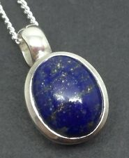 Lapis lazuli oval Pendant Solid Sterling Silver On Chain. 10 X 8mm Stone. Small.