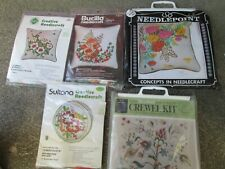 5 Vintage Needlepoint Pillow Kits Embroidery Canvas Work