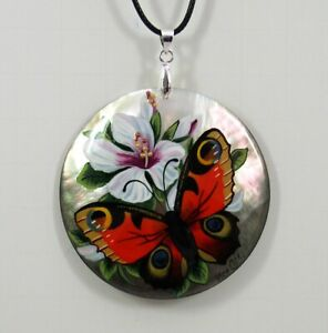 Mother of Pearl Russian Hand Painted Necklace Pendant BUTTERFLY  #0916