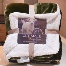 Dark Olive Green King Size Sherpa Fleece Blanket Luxury Warm Home Sofa Bed Throw