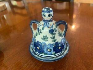 Unikat Polish Pottery Mini Cheese Lady, Mini Butter lady, Mint condition