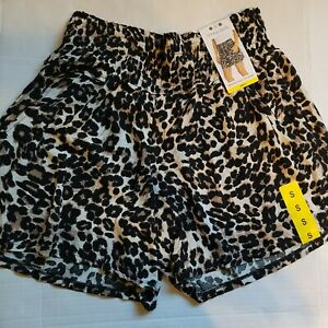 NWT Three Dots Womens Leopard Printed Elastic Waist Pull On Shorts SZ S, M, or L