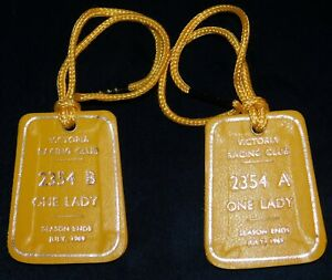 1969 VICTORIA RACING CLUB LADY MEMBERS A & B FOBS / BADGES - LEATHER - PERFECT